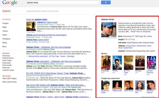 Google search instant answers to users queries