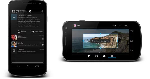 Android Jelly Bean Notification and new Camera App
