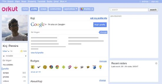 Google enables adding Google+ public posts on your Orkut profile