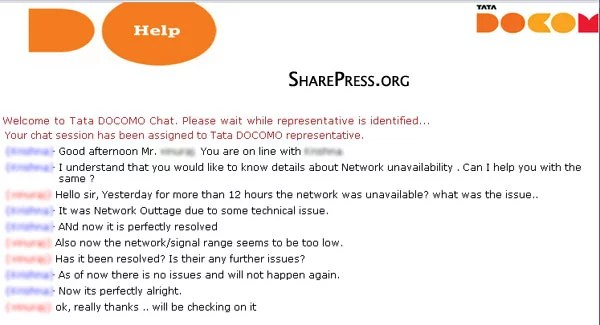 Tata Docomo Network Outage Across India - Chat Support