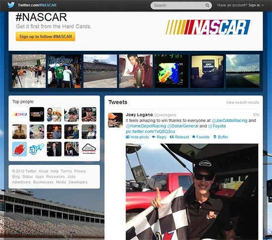 Twitter brings in hashtag pages with NASCAR TV commercial
