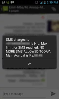 BSNL SMS restriction warning message