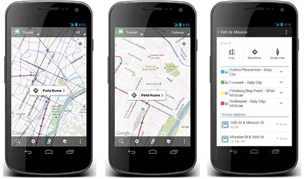 Google Maps for Android Updated - provides Public Transit Schedules of Indian Cities