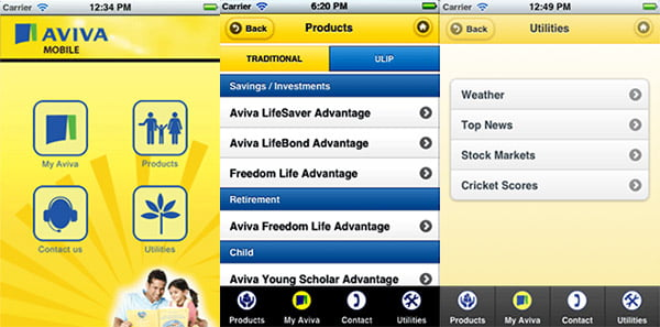 Aviva India Insurance Mobile Application