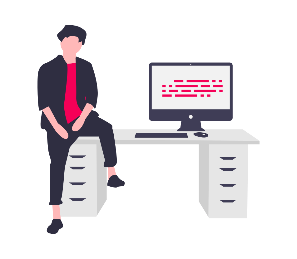 person half sitting on a desk with a computer