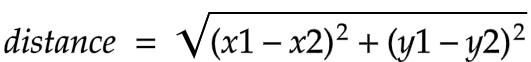 Distance between two points in a two-dimensional plane