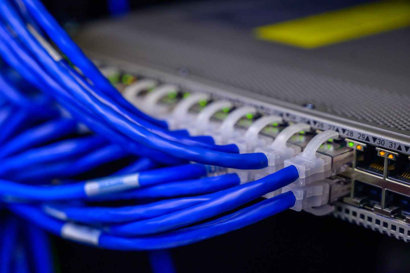 ethernet cable connected to a compartment port