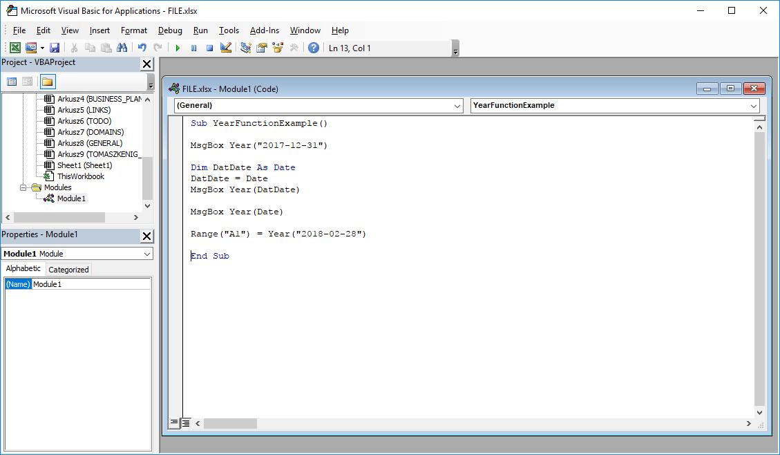Excel VBA functions - Year VBA function