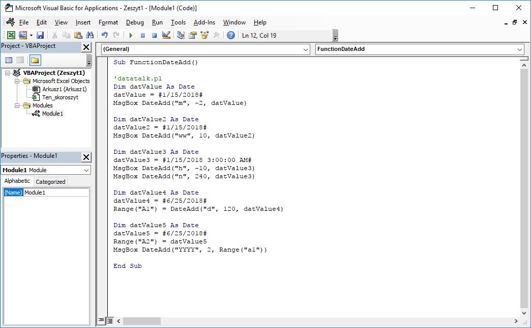 Excel VBA functions - DateAdd VBA function
