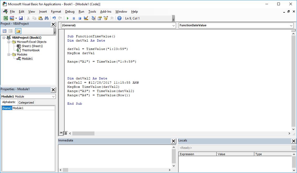 Excel VBA Functions - TimeValue VBA function