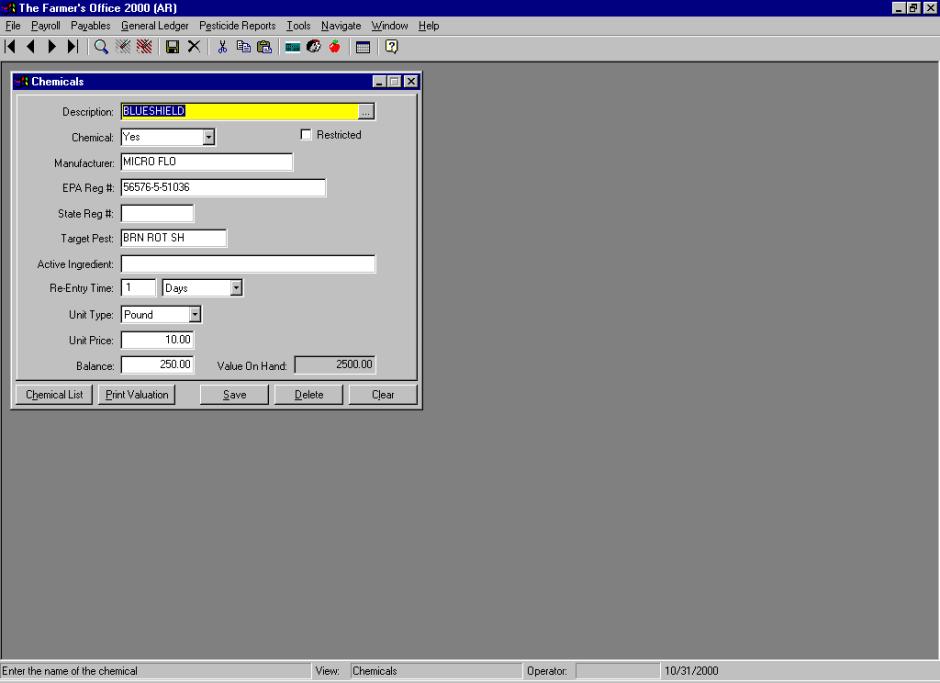WinChem maintenance file