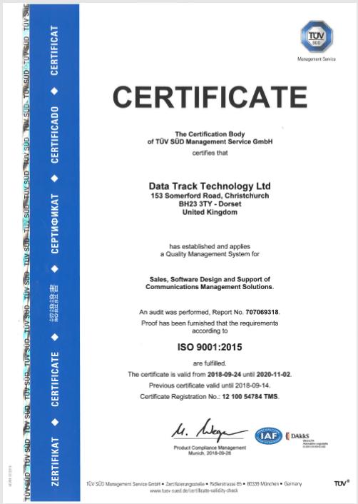 TDV certificate datatrack