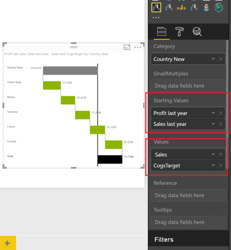 Power BI Ultimate stacked Waterfall Custom Visual