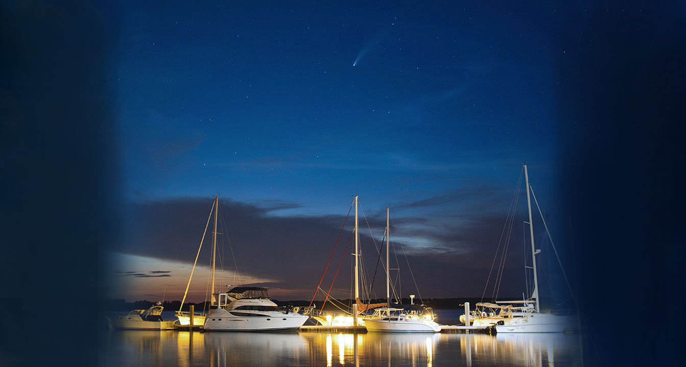 Comet NEOWISE Dances Across the Night Sky Over the Dataw Island Marina