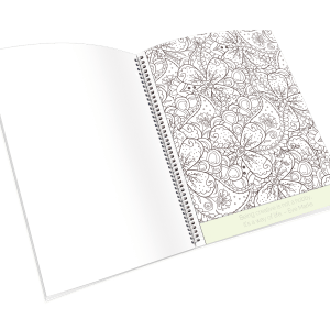 Open spiral-bound coloring journal with a paisley outline page.