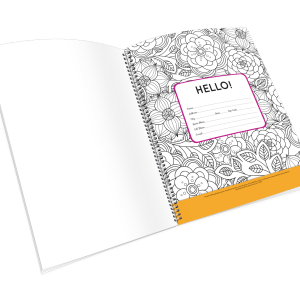Open spiral-bound coloring journal with a flower outline page.