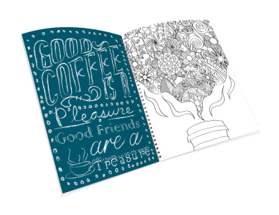 Open spiral-bound coloring journal with a coffee cup steam outline page.