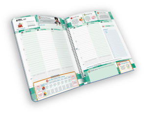 Open spiral-bound planner with days of the week.