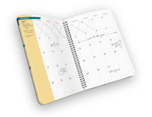 Open faced spiral-bound planner with days of month.