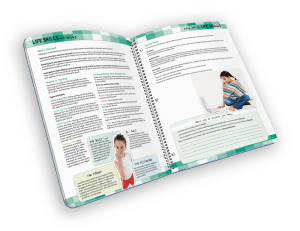 Open spiral-bound planner with reference pages.