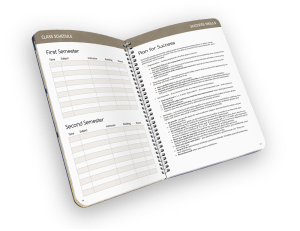 Open faced spiral-bound planner with reference pages.