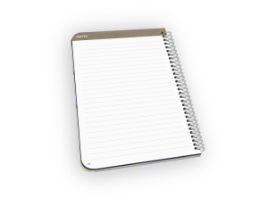 Spiral-bound planner with lined notes page.