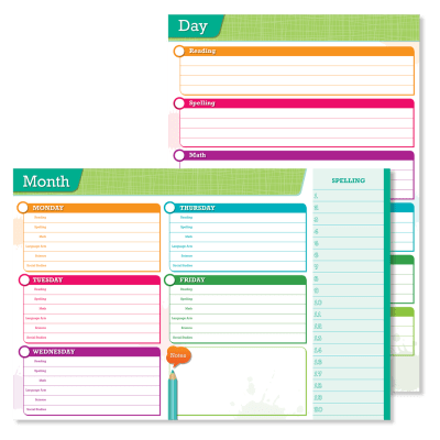 Wall chart for day and week learning goals.