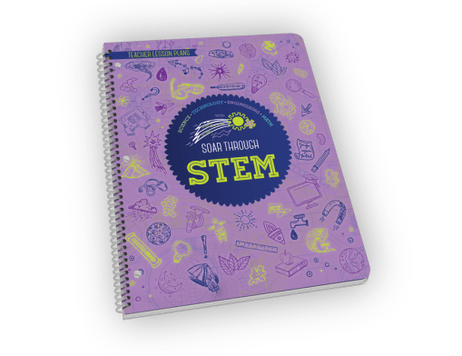 Spiral-bound STEM book of lesson plans for teachers.