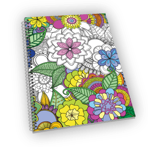 Spiral-bound coloring journal with flower cover.