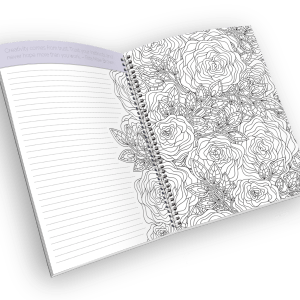 Open spiral-bound coloring journal with a rose outline page.
