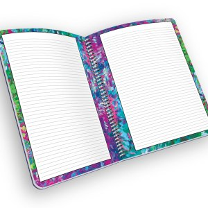 Open spiral-bound planner with lined pages.