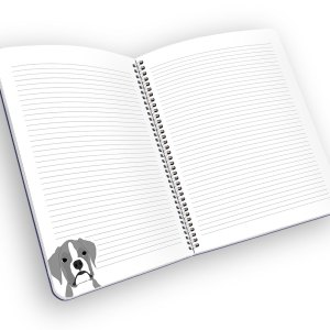 Open spiral-bound notebook with lined pages and a boxer.