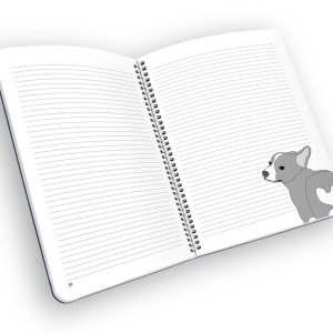 Open spiral-bound notebook with lined pages and a corgi.