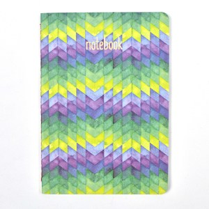 Small composition notebook with geometric pattern.