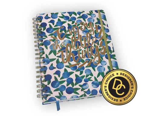 Spiral-bound planner with blueberry pattern and quote.