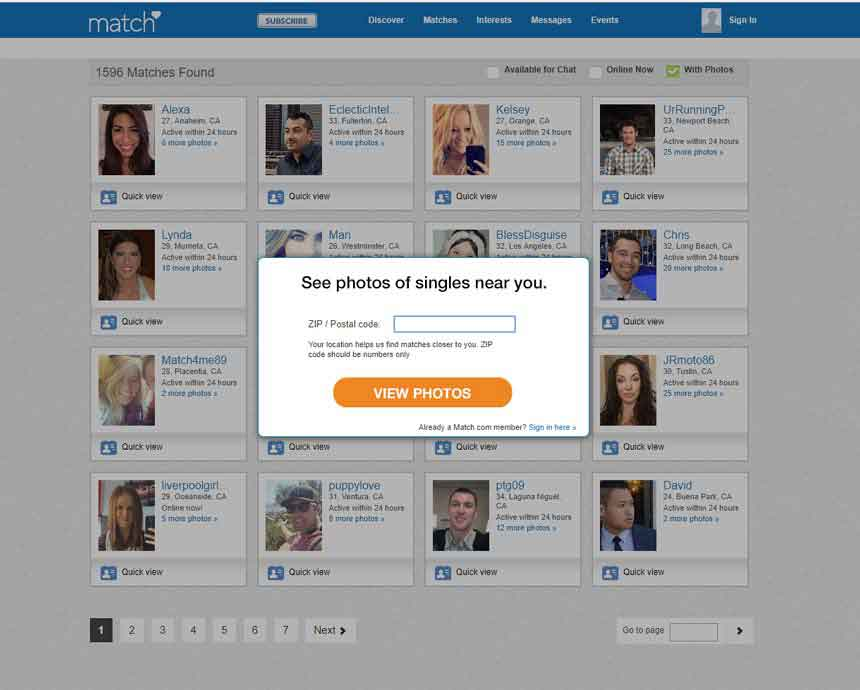 Match.com's opening page.