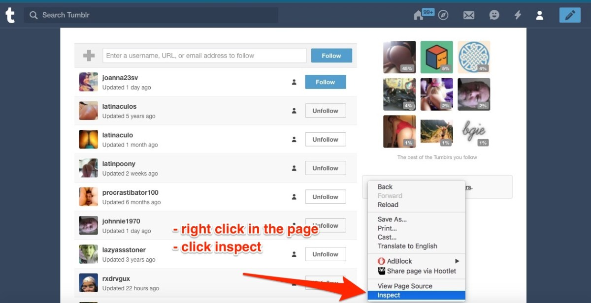 mouse right click on the page, and inspect