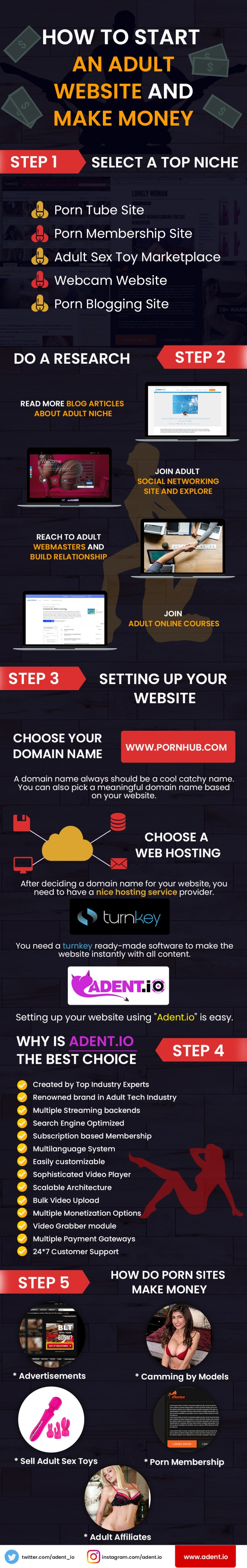 how to start an adult site and make money infographic