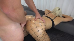 Blonde Student With Perfect Ass Asking For Anal Sex Wearing A Fishnet