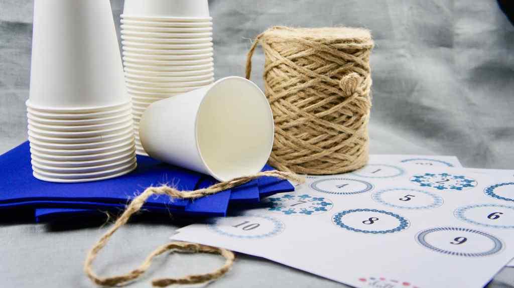 Ramadankalender mit Pappbechern Materialien