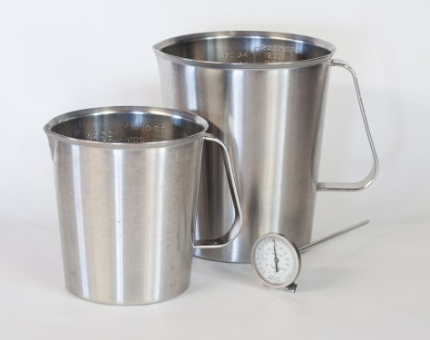 Stainless steel beakers, 32oz and 64oz. Weston stainless steel thermometer model 2265,