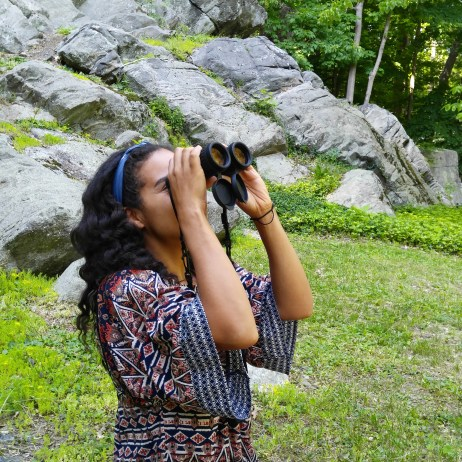 Nerding, I mean birding out (pic courtesy of my daughter).