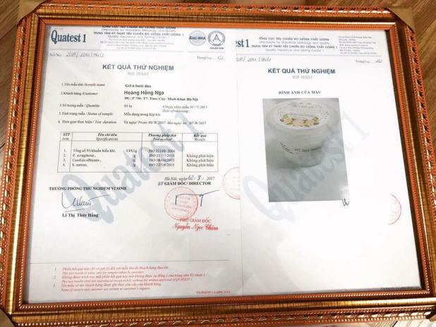 kết quả kiểm thử gel ủ bưởi dừa - mỹ phẩm thiên nhiên nga hoàng