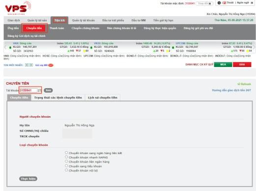 chuyển rút tiền trên web VPS SmartOne