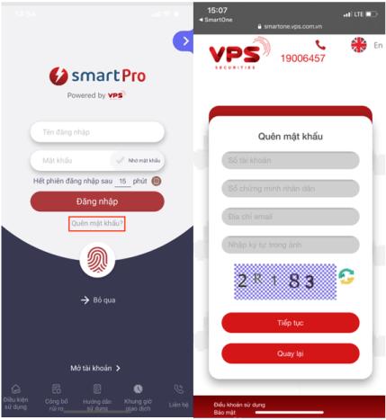 Khôi phục mật khẩu phần mềm VPS SmartPro