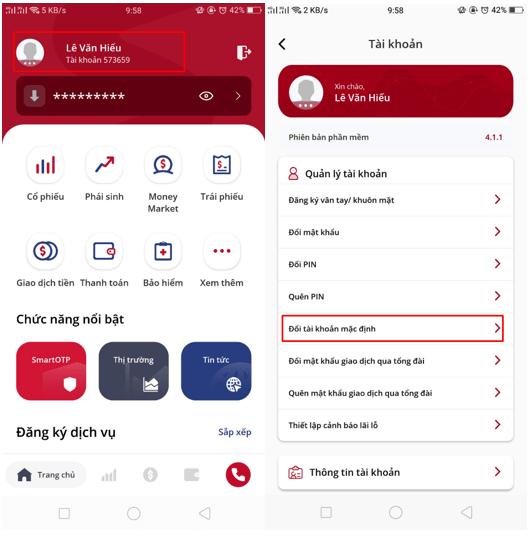 chuyển tài khoản mặc định trên app SmartOne
