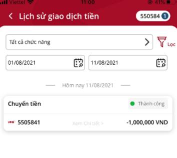 lịch sử giao dịch tiền trên app SmartOne