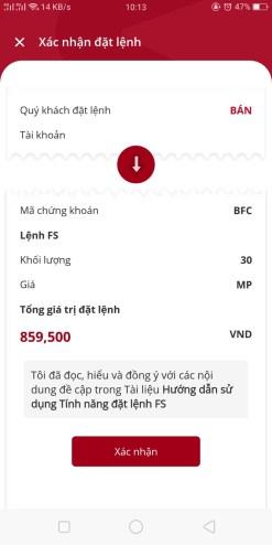 đặt lệnh bán cổ phiếu FS trên app SmartOne
