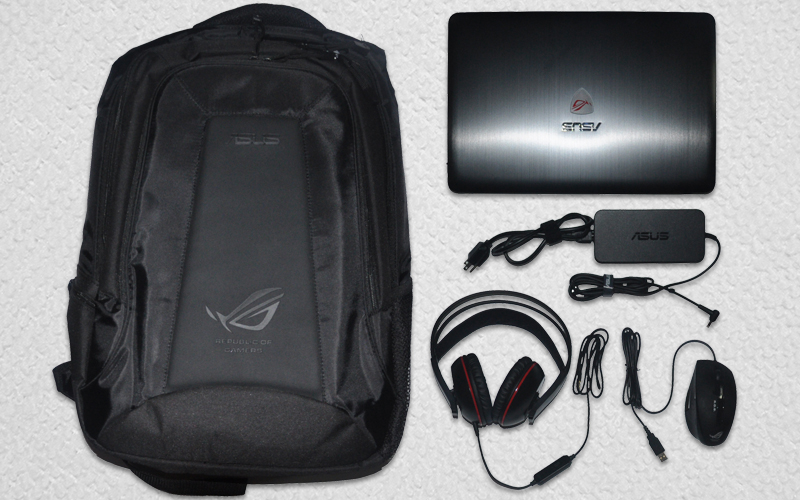 Free Asus Backpack, An Asus Cerberus Gaming Headset, and a GX850 R.O.G. Mouse