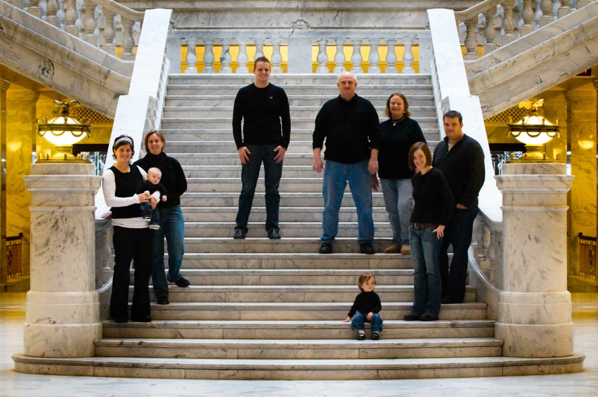 Family photography with the Sutherland family at the Utah State Capitol